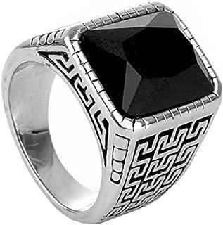 mens stainless steel black diamond ring