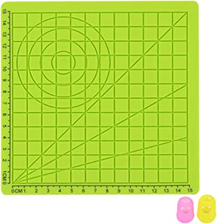 Yardwe 3D Printing Pen Silicone Mat Children Drawing Template Pad with 2 PCS Random Color Finger Covers - Type A (Green)