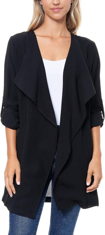 Elodie Women's Draped Casual Jacket Open Front Cardigan Knit Lightweight