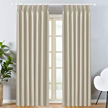 LEEPWEI ドレープカーテン カーテン 遮光カーテン 防寒 断熱カーテン 保温カーテン おしゃれ 北欧 遮熱 ポリエステル100% ベージュ 幅100cm丈178cm 2枚組 遮光 寝室 カーテン セット 断熱 UVカット リビング用