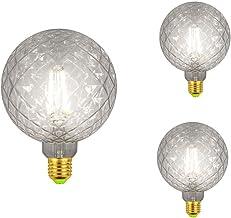 QHENS LED Edison Vintage gloeilamp 3-pack gloeilamp koel wit E27 4W 320LM 4000K 220V-240V, G125 Nostalgie Globe Retro lamp...