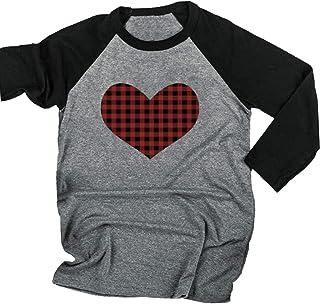 HRIUYI Womens Valentine's Day T Shirt Buffalo Plaid Heart Shirt Baseball Tees 3/4 Sleeve Raglan Top T-Shirt