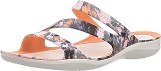 Crocs Swiftwater Tie-Dye Mania Sandal Grapefruit/Almost White 6