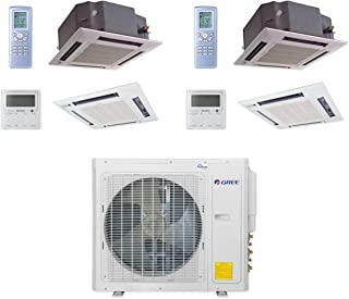 GREE MULTI30CCAS207-30,000 BTU Multi21+ Dual-Zone Ceiling Cassette Mini Split Air Conditioner Heat Pump 208-230V (18-18)