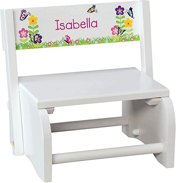 Fox Valley Traders Personalized Children S White Butterfly Flower Step Stool