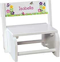 Fox Valley Traders Personalized Children's White Butterfly & Flower Step Stool