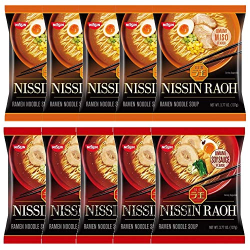 Nissin RAOH Variety Pack Instant Ramen Noodle, Shoyu (Soy Sauce) and Miso Flavor (Pack of 10)
