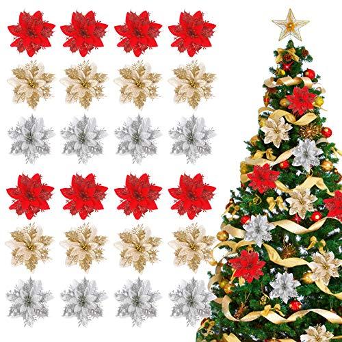 Tacobear 24 Pezzi Decorazioni Albero di Natale Stelle di Natale Fiori Artificiali Glitterati con Clip Steli Addobbi Albero di Natale Fiori Ornamento Decorazioni Natalizi per Casa Festa Matrimonio