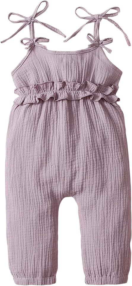 Baby Girls Jumpsuit Rompers Sleeveless One Piece Ruffled Halter Bodysuits 3-24M