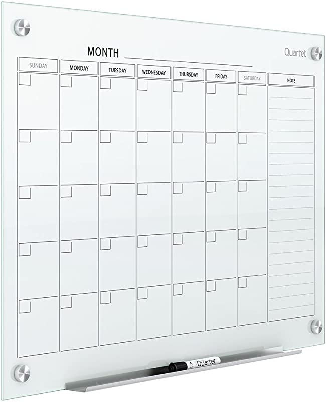 Quartet Magnetic Whiteboard Calendar Glass Dry Erase White Board Planner 3 X 2 White Surface Frameless Infinity GC3624F