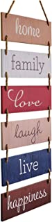 Excello Global Products Large Hanging Wall Sign: Rustic Wooden Decor (Home, Family, Love, Laugh, Live, Happiness) Hanging Wood Wall Decoration (11.75