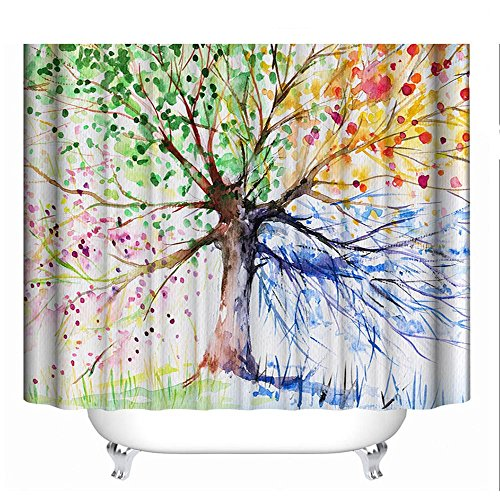 Famibay 3D Shower Curtain Bathroom Shower Curtain Mould Proof Resistant Washable 3D Polyester Bath Curtian for Shower 180x180cm