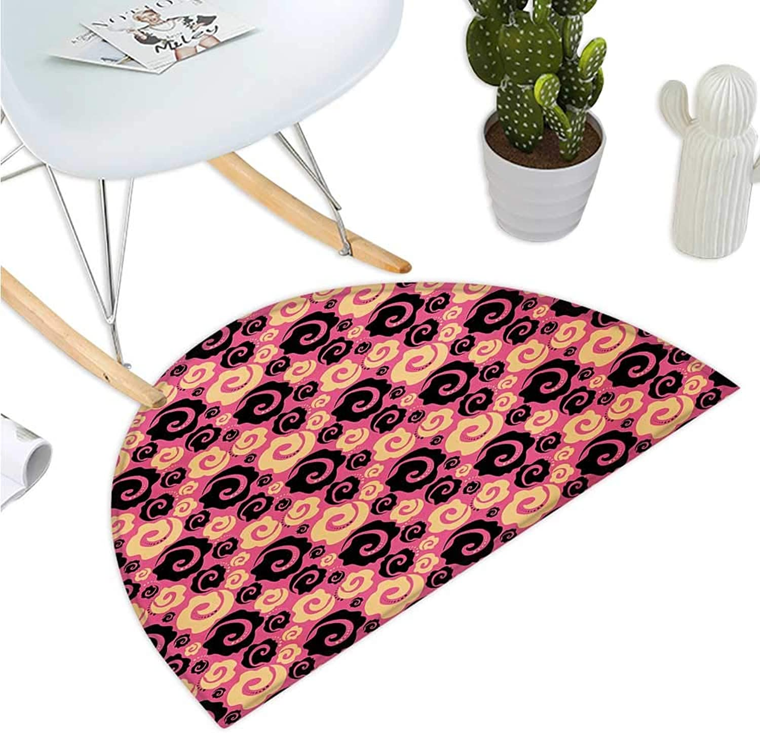 Floral Semicircle Doormat Vibrant Vintage Pink with Flowers pinks Stylish Fashion Inspired Blooms Halfmoon doormats H 39.3  xD 59  Pale orange Pink Black