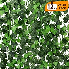 Artificial ivy garland made of high quality,Fabric leaves and Plastic stems,very easy to use.classic and elegant look. Each artificial vine approx 7.87ft long, total 94 Ft, 100 leaves diameter approx 1.4-1.8inch. Come with 12 x artificial ivy vine, p...