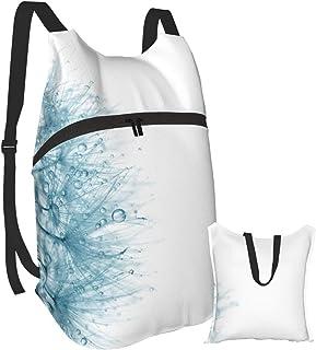 Mochila portátil plegable, mochila de computadora para adultos, con pequeñas gotas de agua, azul claro, antirobo, delgada y duradera para laptops