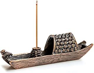 ZLCA Brass Fishing Boat Censer Stick Incense Holder Cone Incense Burner Ash Catcher Home Fragrance Accessories Red Bronze