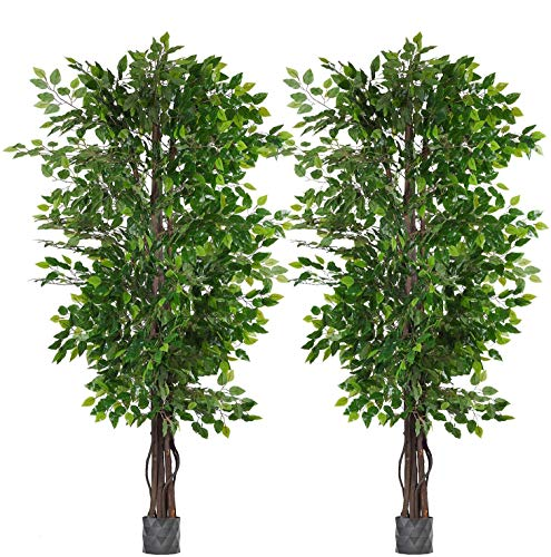 2 Pack 6.5'/pc Ficus Silk Tree,Artificial Tree Ficus Tree with Green Leaves and Natural Trunk, Beautiful Fake Plant for Living Room Balcony Corner Decor,Indoor-Outdoor Use(Pot not Include)