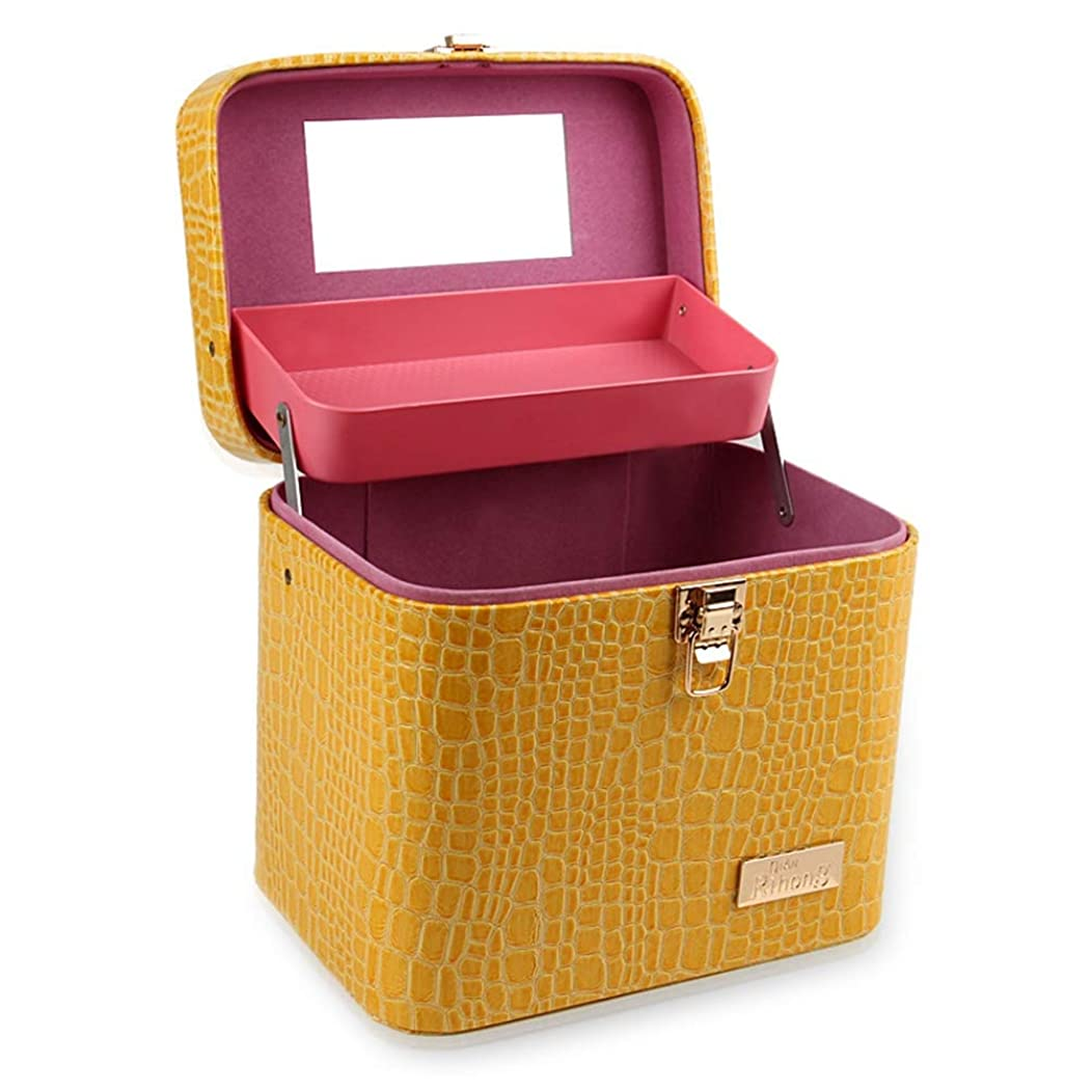到着するスラック値する[カタク]メイクボックス コスメボックス 大容量 鏡付き 2段タイプ 化粧ボックス おしゃれ 取っ手付 携帯便利 化粧道具 メイクブラシ 小物 出張 旅行 機能的 PUレザー プロ仕様 化粧ポーチ コスメBOX