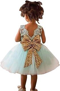 97e206d07 Niña Vestido de Chaleco de Encaje Lentejuelas Pajarita de Princesa Ropa de  Trajes Para Verde claro