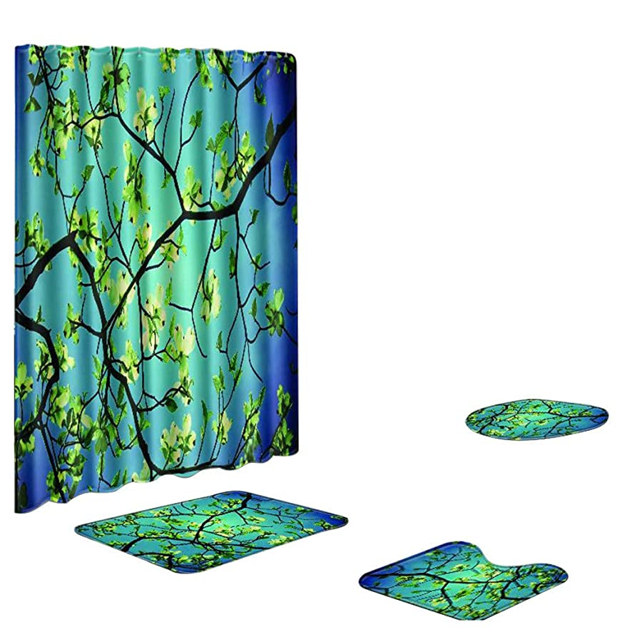 LUXISDE 4PCS Non Slip Toilet Polyester Cover Mat Set Bathroom Shower Curtain