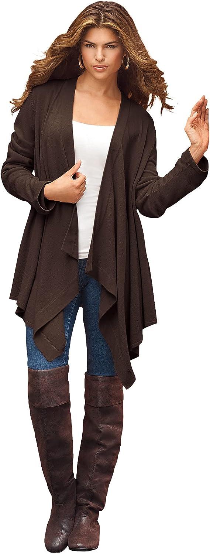 Roamans Women's Plus Size Fine-Gauge Handkerchief Hem Cardigan Sweater