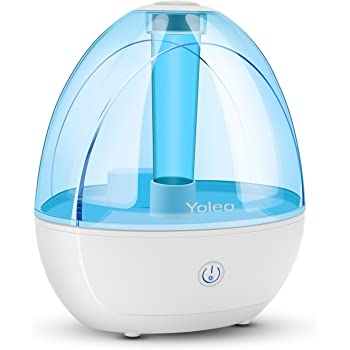 YOLEO Humidifiers 1800ml Ultrasonic Cool Mist Humidifier Whisper Quiet Automatic Shut off Night Light 360°Rotatable Mist Outlets for Home, Yoga,