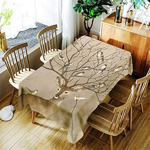 Tischdecke Wasserdicht Abwaschbar, Morbuy Wasserabweisend Abwischbare Eckig Küchen 3D Hirsche Tischabdeckung Tischdekoration für Speisetisch Garten Outdoor Camping (Brauner Vogel,150x300cm)