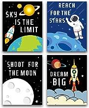 "HPNIUB Cartoon Rocket Art Picture Space Posters Astronaut Art Print Set of 4 (10""X8""Kids Inspirational Wall Art for Nursery or Boys&Girls,No Frame"