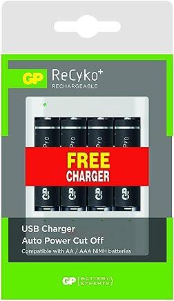 Pilha Recarregável Recyko AA 4 Peças, Carregador Portátil USB U411 em Blister, GP Batteries, GPRHOU411027, Branco