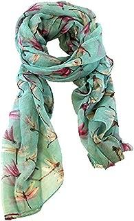 Lady Womens Long Cute Dragonfly Print Scarf Wraps Shawl Soft Scarves (Green)
