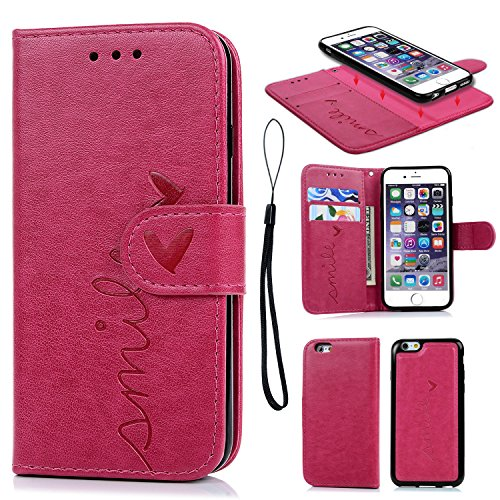 Compatible withiPhone 6 6S Case, iPhone 6 6S Wallet Case Folio Cover Embossed Love PU Leather Case Inner TPU Magnetic Detachable Wallet Card Slots Wrist Strap for iPhone 6 6S 4.7 inch Hot Pink