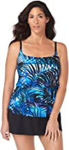 Longitude Women's Swimwear Full of Shade Scoop Neck Ruffle Faux Skirtini Tummy Control Long Torso One Piece Swimsuit