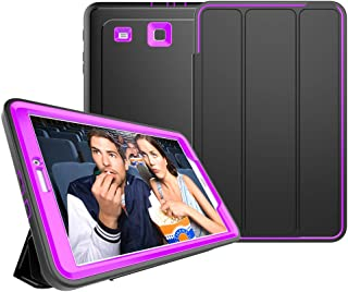Samsung Galaxy Tab E 9.6 Case - Full Body Protection Heavy Duty Shockproof Armor Hard PC+Silicone Hybrid High Impact Resistant Defender Cover with Screen Protector