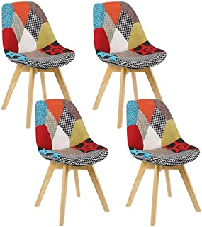 MJS Un Conjunto de 4 sillas nórdicos Medievales del Arte del Estilo de Comedor, pies de Madera de Haya Retro sillas de diseño, Adecuado for la Cocina, Comedor (Rojo)
