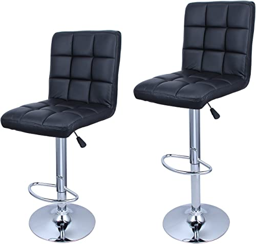 BELLEZE Set of (2) Swivel Faux Leather Adjustable Barstools Hydraulic Bar Stool Cushion Seat w/Footrest, Black