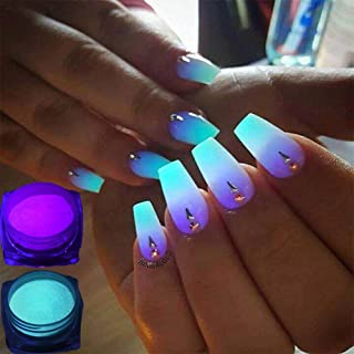 TOOGOO 12boxes/set Neon Phosphor Powder Nail Glitter Powder 12 Colors Dust Luminous PiGMent Fluorescent Powder Nail Glitters Glow in the Dark
