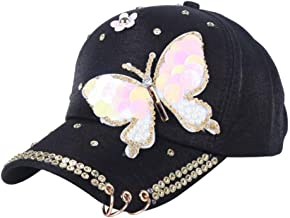 UAOOK Summer Cotton Butterfly Sequin Fashion Sunscreen Baseball Cap Snapback Hip-hop Cool Visor Cap Women Casual Outdoor Uv Protection Ponytail Campagne Bling Adjstable Gift Casquette For Ladies Girls