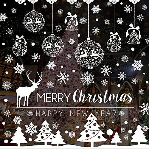 Caiery 185 pcs Schneeflocken Rentier Fensterbild, Statisch Haftende PVC Aufklebe,Winter-deko Weinachts Dekoration, Weihnachten Fenstersticker, Winter Deko Weihnachtsdeko