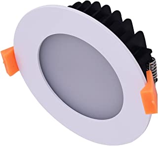 6pcs Recessed Bathroom 13W Flat Frame LED Downlight Kit Dimmable 90mm Cutout Warm White 3000K 950lm Ceiling Down Light