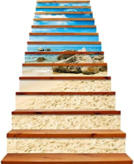 Beautifulive 3D Summer Ocean Beach Stair Stickers, 13PCS Self-Adhesive Waterproof Staircase Risers Wallpaper Stairway Decal Mural Home Decor (39 inch×7 inch)