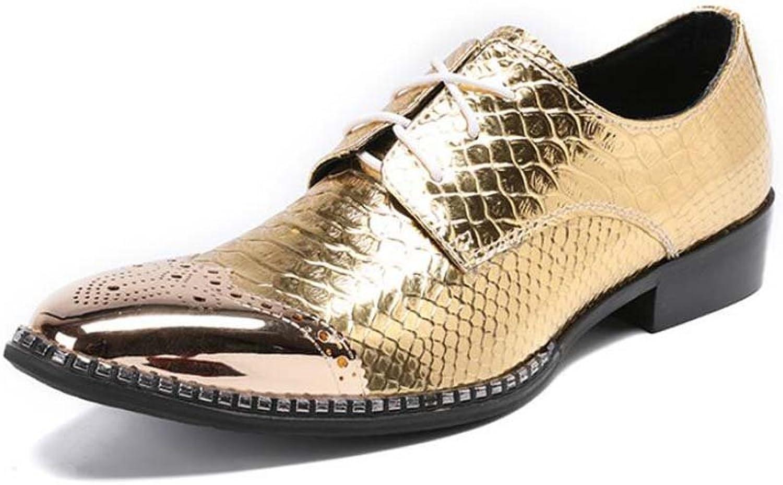 Winklepicker Men Pump Business Casual Leather shoes Derby shoes gold Wedding Dress shoes Handsome Metal Square Toe Lace Up Baroque shoes Oxford Eu Size Eu Size 37-46