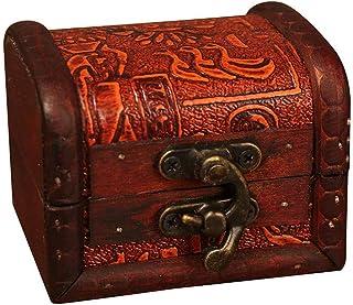 🍀Libobo🍀Vintage European Boxes Decorative Trinket Jewelry Storage Box Handmade Vintage Wooden Treasure Case
