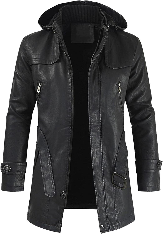 FORUU Leather Jacket For Men Winter Casual Zipper Jacket with Hood Long Trench Coat Oversized Fashion Peacoat