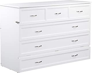 Atlantic Furniture Deerfield Murphy Bed Chest with Charging Station and Mattress, Queen, White