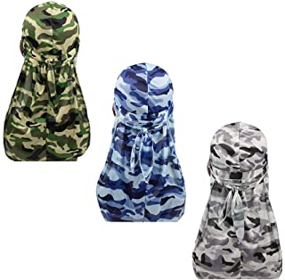 3pcs Packed Miltary Camouflage Colorful Premium 360 Waves Long Tail Silky Durag Cap for Men Du-rag