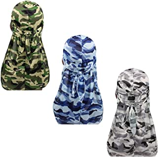 Military Camouflage Premium Silky Durags with Long Tail Colorful 360 Waves Doo rag for Men Du rag Cap (3/4 Packed)