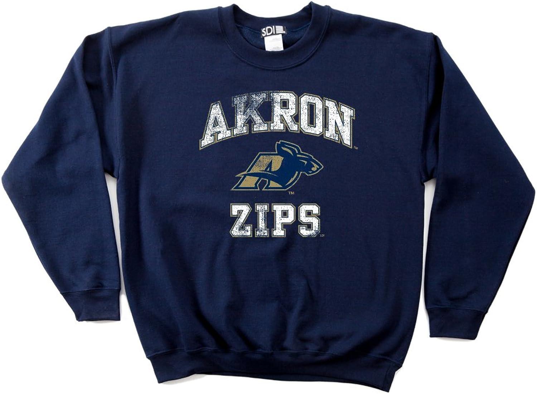 NCAA Akron Zips 50 50 Blended 8-Ounce Vintage Mascot Crewneck Sweatshirt