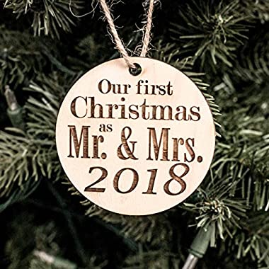 Ornament - 2018 Our First Christmas as Mr and Mrs - Raw Wood 3x3in