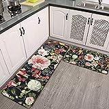 2-teiliges Küchenteppich-Set mit botanischem Garten, Vintage-Blumenmuster, saugfähig, rutschfest,...
