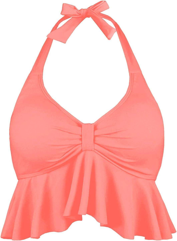 Balasami Women's Halter Large Large special price !! discharge sale Neck Retro Falbala Bikini Ch Top Flounce